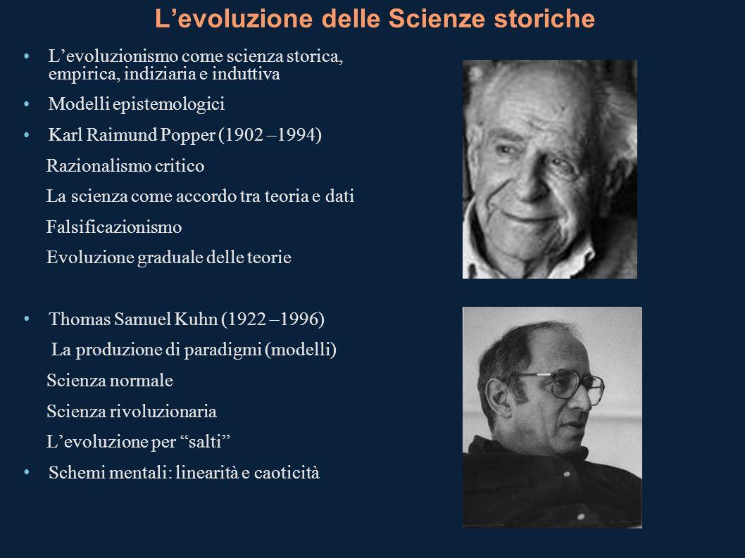 Levoluzione delle Scienze storiche Levoluzionismo come scienza storica, empirica, indiziaria e induttiva Modelli epistemologici Karl Raimund Popper (1