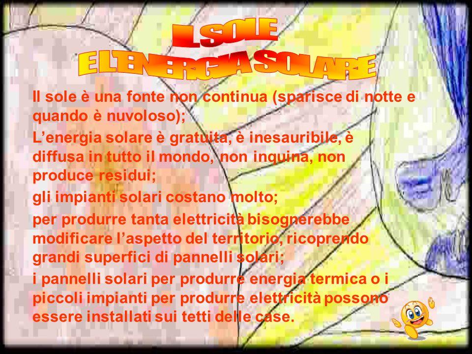 Il sole è una fonte non continua (sparisce di notte e quando è nuvoloso); gli impianti solari costano molto; per produrre tanta elettricità bisognereb