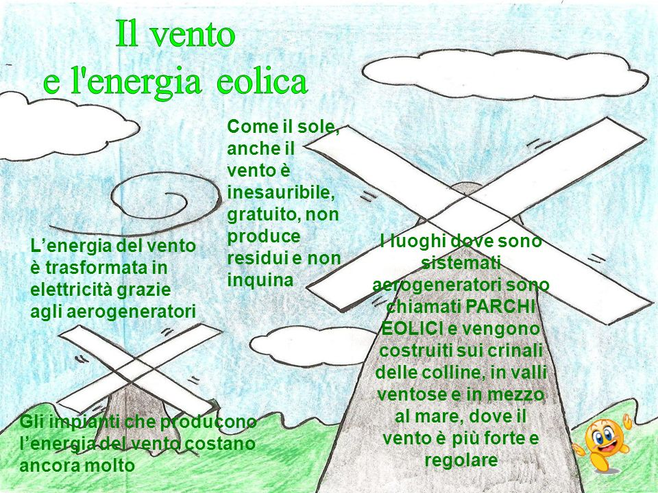 Come il sole, anche il vento è inesauribile, gratuito, non produce residui e non inquina Gli impianti che producono lenergia del vento costano ancora