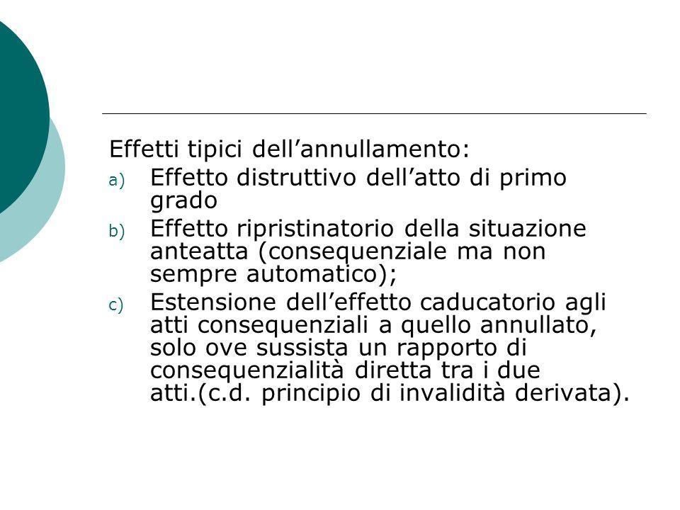 Effetti tipici dellannullamento: a) Effetto distruttivo dellatto di primo grado b) Effetto ripristinatorio della situazione anteatta (consequenziale m
