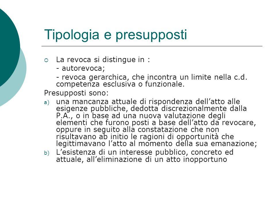 Tipologia e presupposti La revoca si distingue in : - autorevoca; - revoca gerarchica, che incontra un limite nella c.d. competenza esclusiva o funzio
