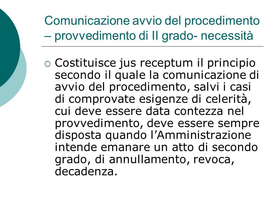Comunicazione avvio del procedimento – provvedimento di II grado- necessità Costituisce jus receptum il principio secondo il quale la comunicazione di