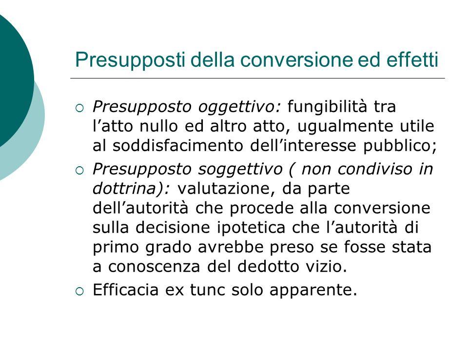 Presupposti della conversione ed effetti Presupposto oggettivo: fungibilità tra latto nullo ed altro atto, ugualmente utile al soddisfacimento dellint