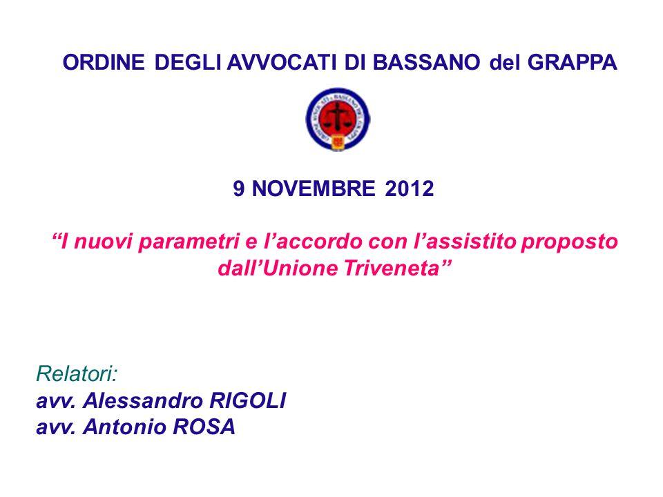 ORDINE DEGLI AVVOCATI DI BASSANO del GRAPPA 9 NOVEMBRE 2012 I nuovi parametri e laccordo con lassistito proposto dallUnione Triveneta Relatori: avv.