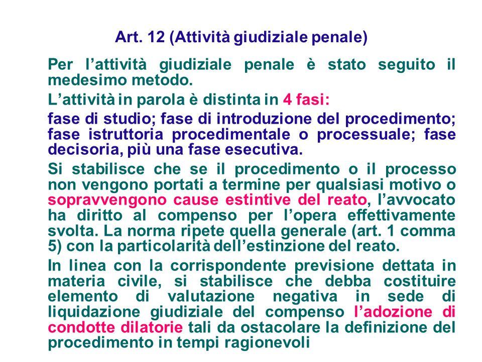 Art. 12 (Attività giudiziale penale) Per lattività giudiziale penale è stato seguito il medesimo metodo. Lattività in parola è distinta in 4 fasi: fas