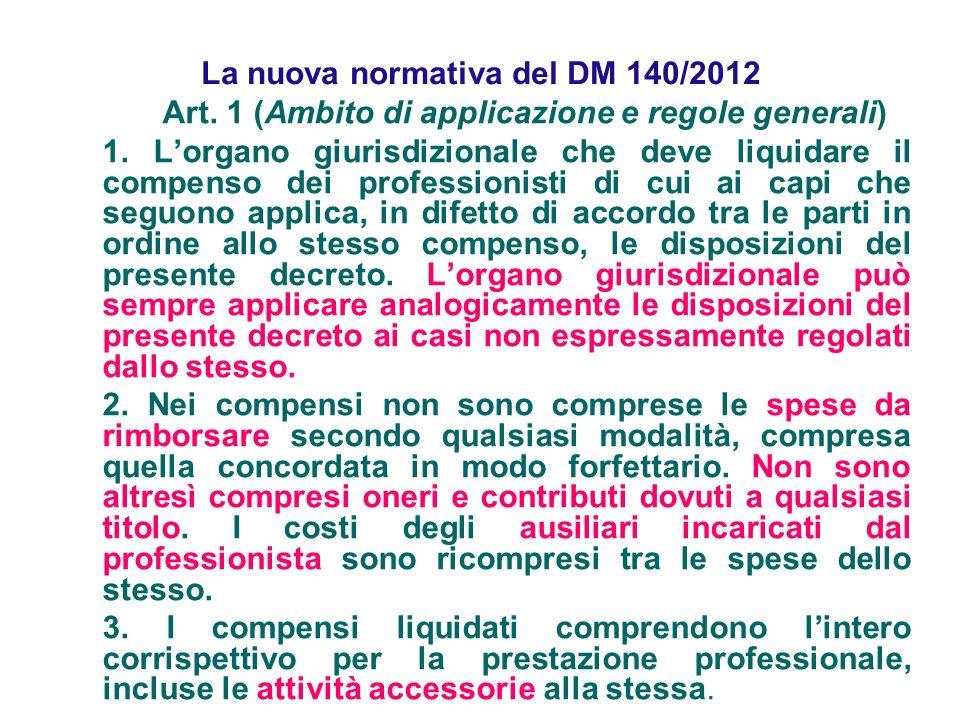 La nuova normativa del DM 140/2012 Art. 1 (Ambito di applicazione e regole generali) 1. Lorgano giurisdizionale che deve liquidare il compenso dei pro