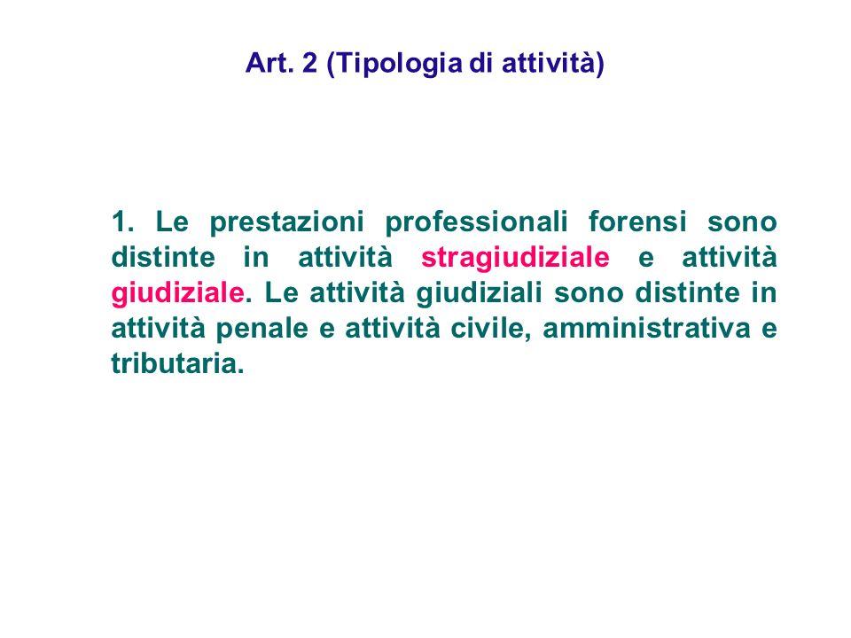 Art. 2 (Tipologia di attività) 1. Le prestazioni professionali forensi sono distinte in attività stragiudiziale e attività giudiziale. Le attività giu