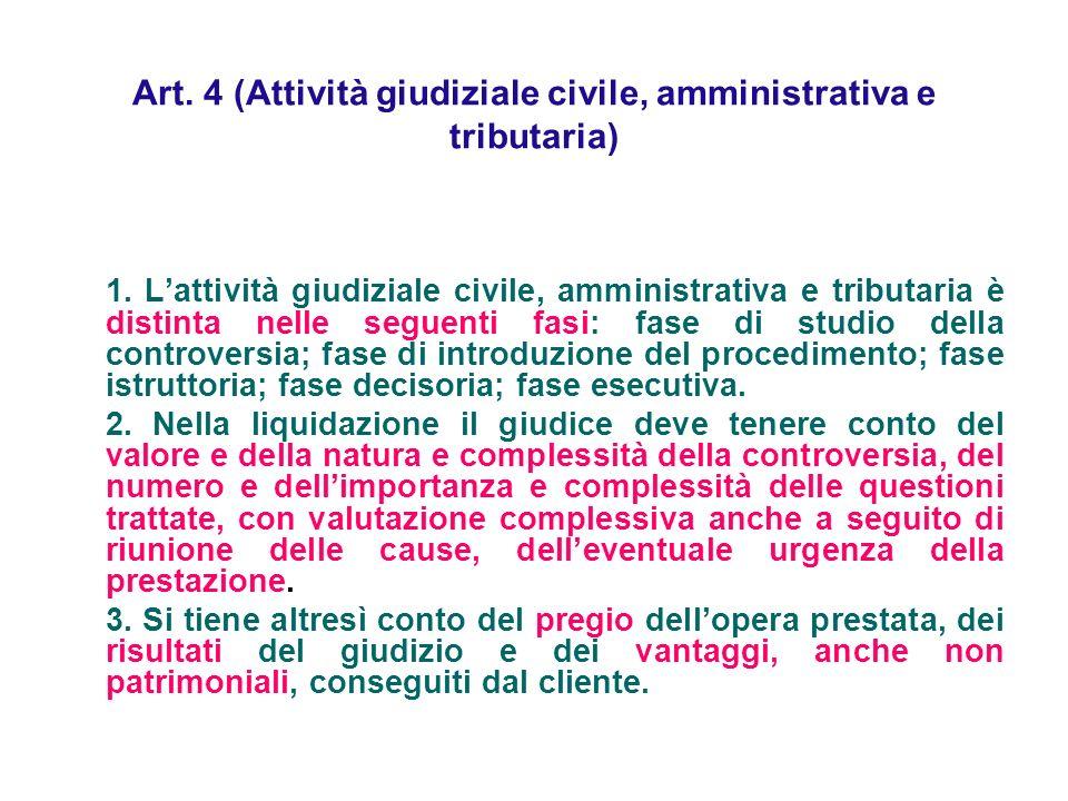 Art. 4 (Attività giudiziale civile, amministrativa e tributaria) 1. Lattività giudiziale civile, amministrativa e tributaria è distinta nelle seguenti