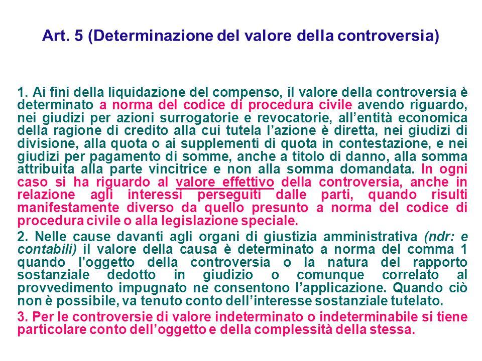 Art. 5 (Determinazione del valore della controversia) 1. Ai fini della liquidazione del compenso, il valore della controversia è determinato a norma d