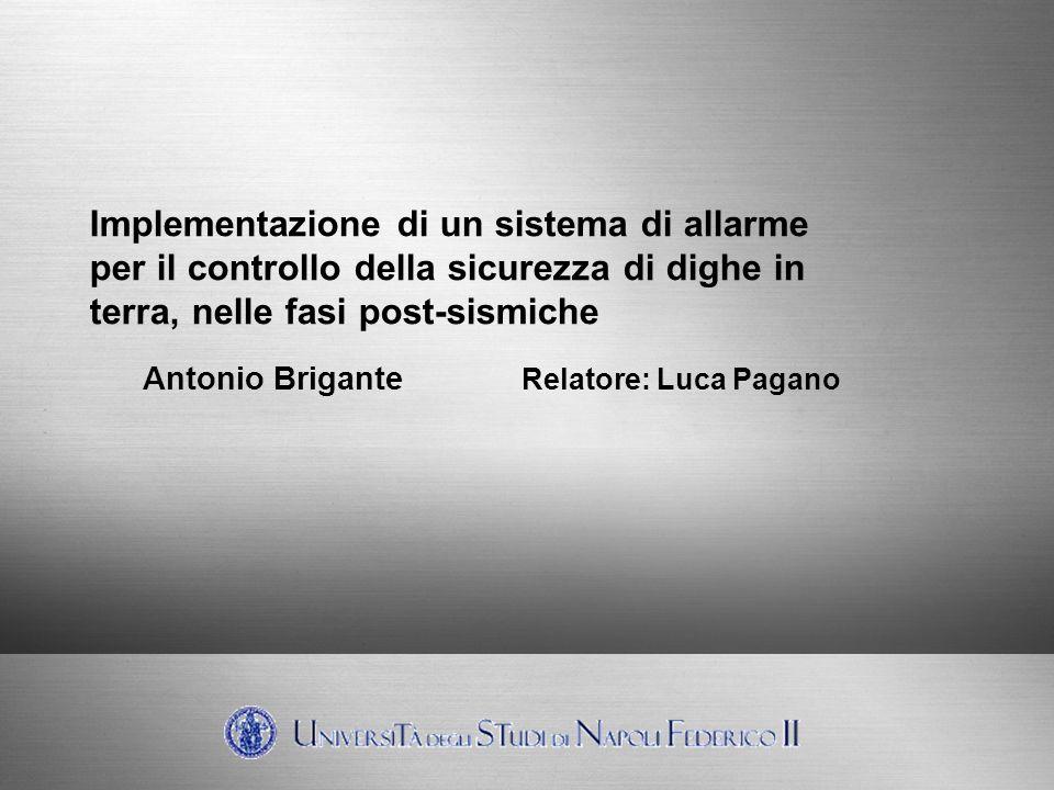 Implementazione di un sistema di allarme per il controllo della sicurezza di dighe in terra, nelle fasi post-sismiche Antonio Brigante Relatore: Luca Pagano