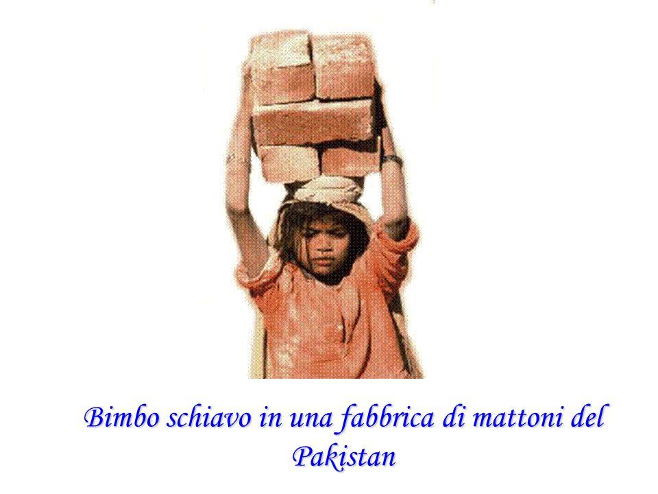 Bimbo schiavo in una fabbrica di mattoni del Pakistan