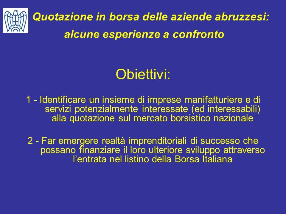 Quotazione in borsa delle aziende abruzzesi: alcune esperienze a confronto Obiettivi: 1 - Identificare un insieme di imprese manifatturiere e di servi