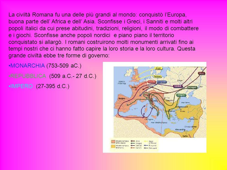 La civiltà Romana fu una delle più grandi al mondo: conquistò lEuropa, buona parte dell Africa e dell Asia. Sconfisse i Greci, i Sanniti e molti altri