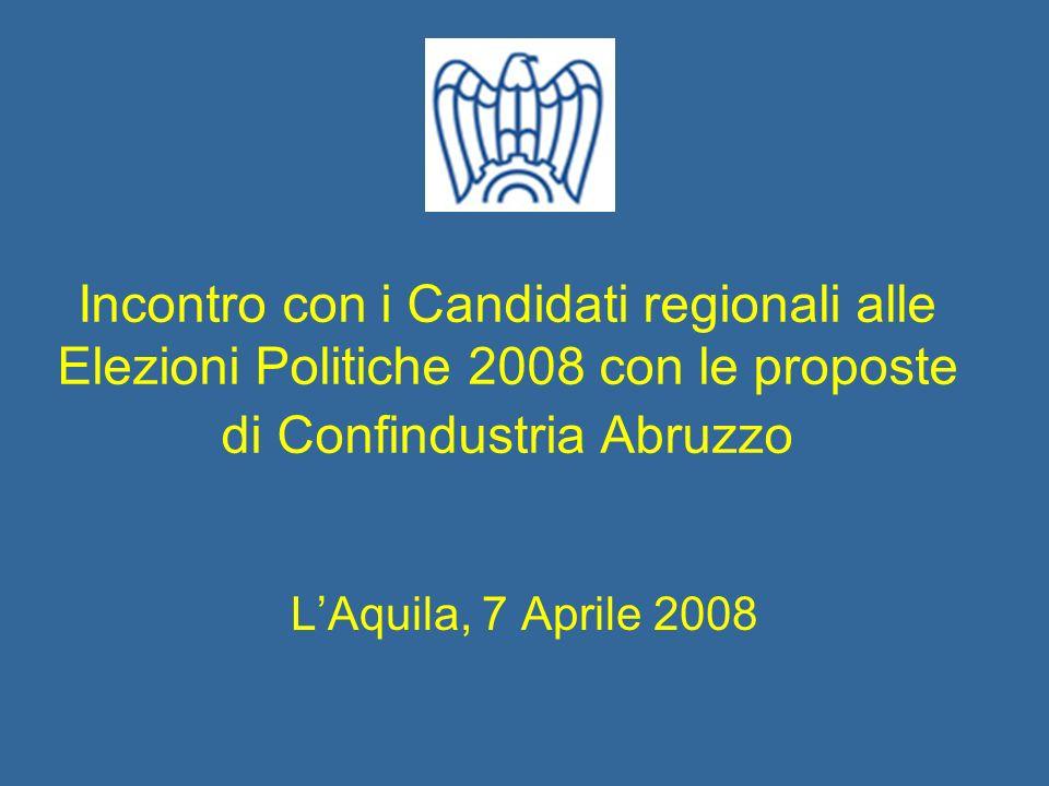 Incontro con i Candidati regionali alle Elezioni Politiche 2008 con le proposte di Confindustria Abruzzo LAquila, 7 Aprile 2008