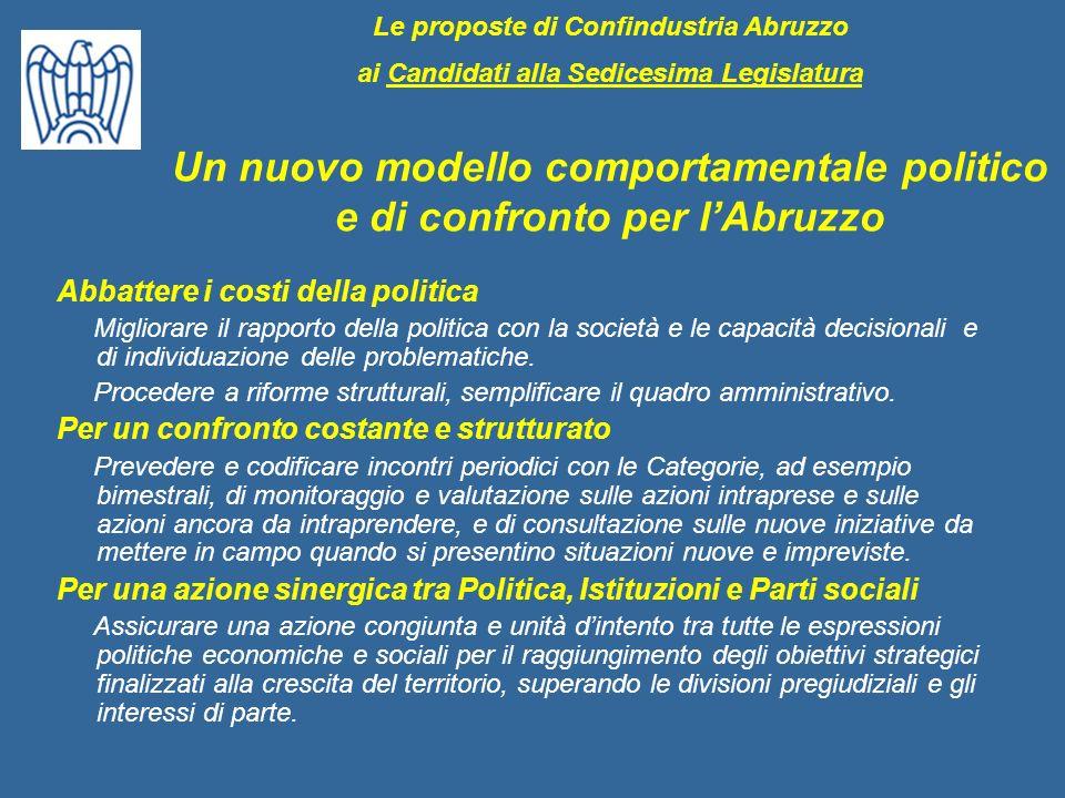 Abbattere i costi della politica Migliorare il rapporto della politica con la società e le capacità decisionali e di individuazione delle problematich
