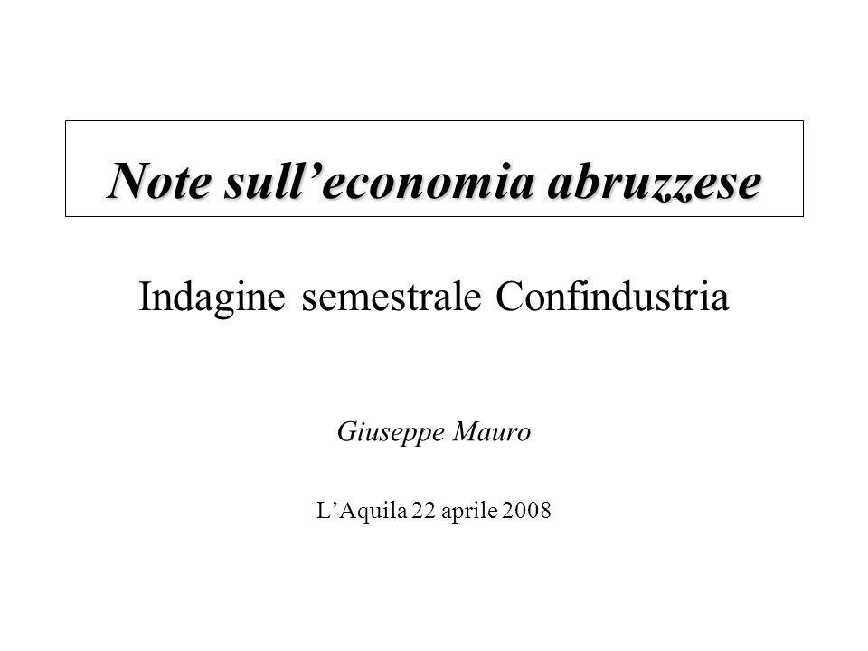 Note sulleconomia abruzzese Note sulleconomia abruzzese Indagine semestrale Confindustria Giuseppe Mauro LAquila 22 aprile 2008