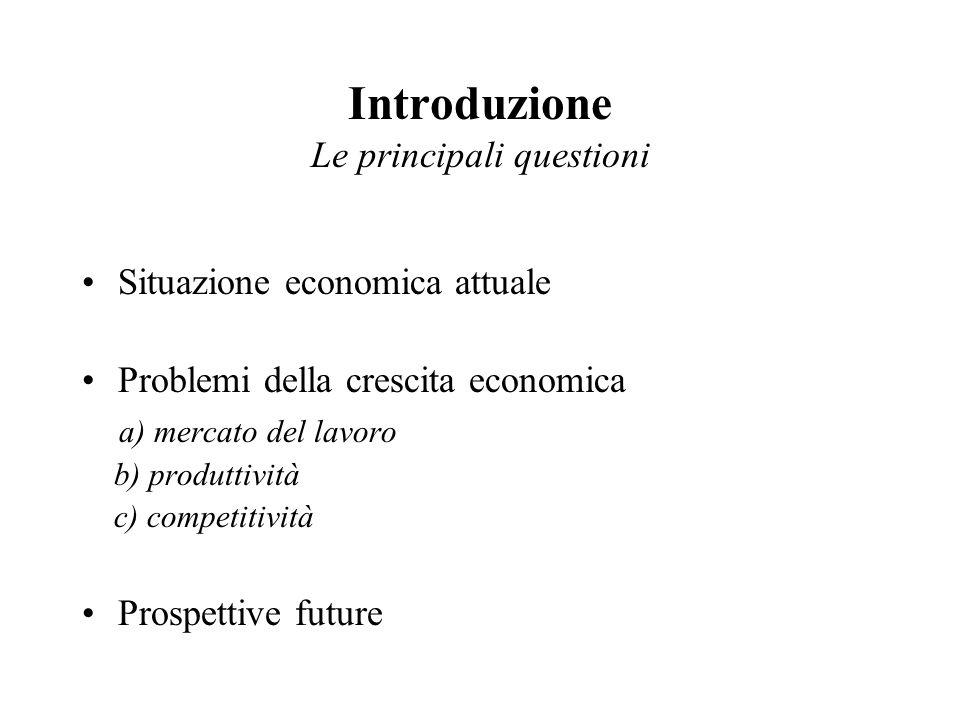 Introduzione Le principali questioni Situazione economica attuale Problemi della crescita economica a) mercato del lavoro b) produttività c) competitività Prospettive future