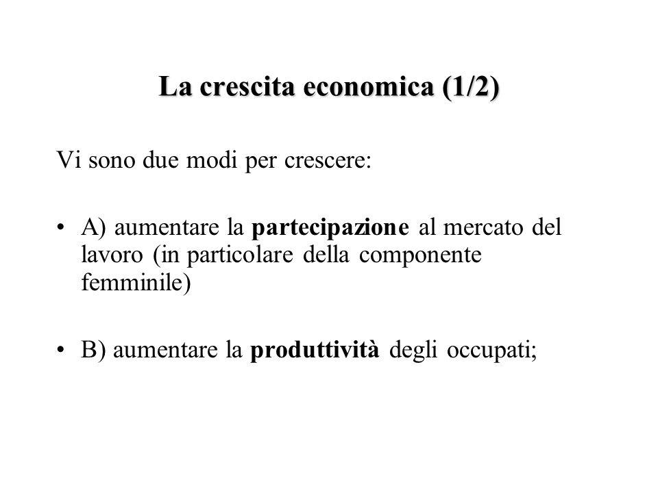 La crescita economica (1/2) Vi sono due modi per crescere: A) aumentare la partecipazione al mercato del lavoro (in particolare della componente femminile) B) aumentare la produttività degli occupati;