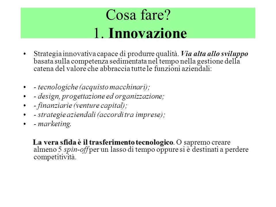 Cosa fare? 1. Innovazione Strategia innovativa capace di produrre qualità. Via alta allo sviluppo basata sulla competenza sedimentata nel tempo nella