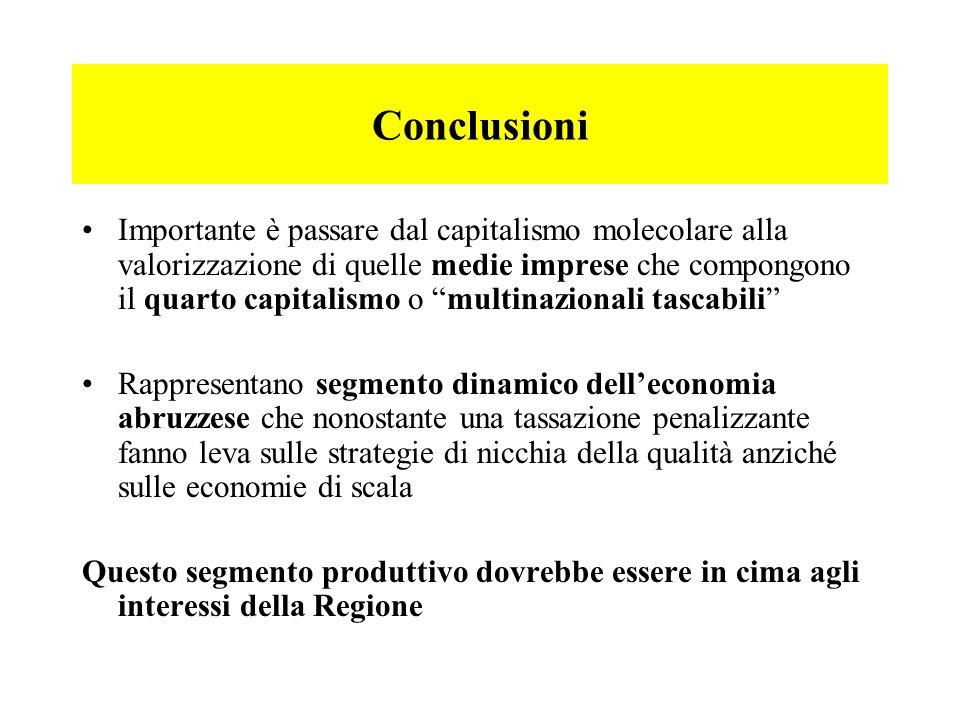 Conclusioni Importante è passare dal capitalismo molecolare alla valorizzazione di quelle medie imprese che compongono il quarto capitalismo o multina