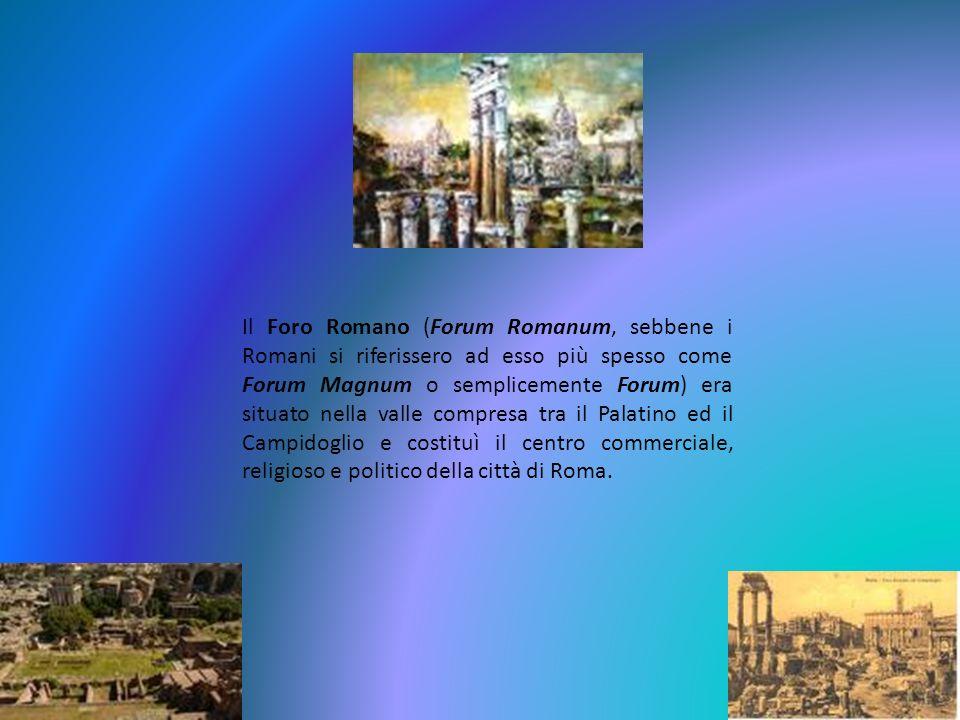 Il Foro Romano (Forum Romanum, sebbene i Romani si riferissero ad esso più spesso come Forum Magnum o semplicemente Forum) era situato nella valle com