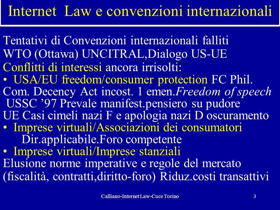 Calliano-Internet Law-Cuce Torino3 Internet Law e convenzioni internazionali Tentativi di Convenzioni internazionali falliti WTO (Ottawa) UNCITRAL,Dia