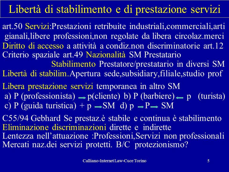 Calliano-Internet Law-Cuce Torino5 Libertà di stabilimento e di prestazione servizi art.50 Servizi:Prestazioni retribuite industriali,commerciali,arti