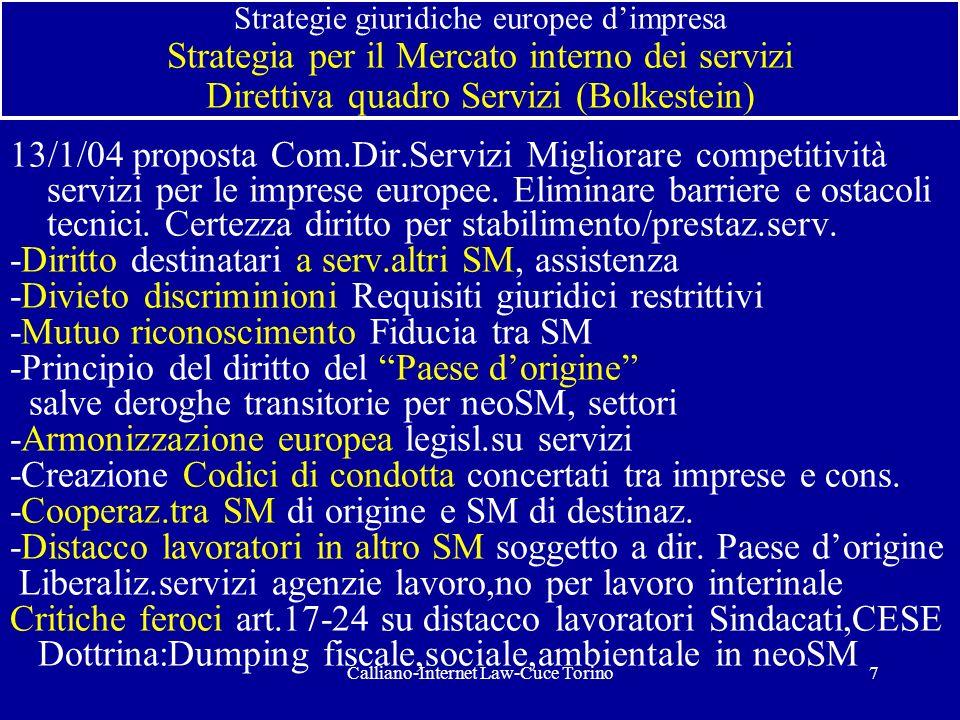 Calliano-Internet Law-Cuce Torino7 Strategie giuridiche europee dimpresa Strategia per il Mercato interno dei servizi Direttiva quadro Servizi (Bolkes