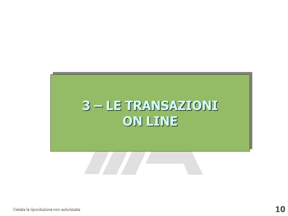 10 Vietata la riproduzione non autorizzata 3 – LE TRANSAZIONI ON LINE