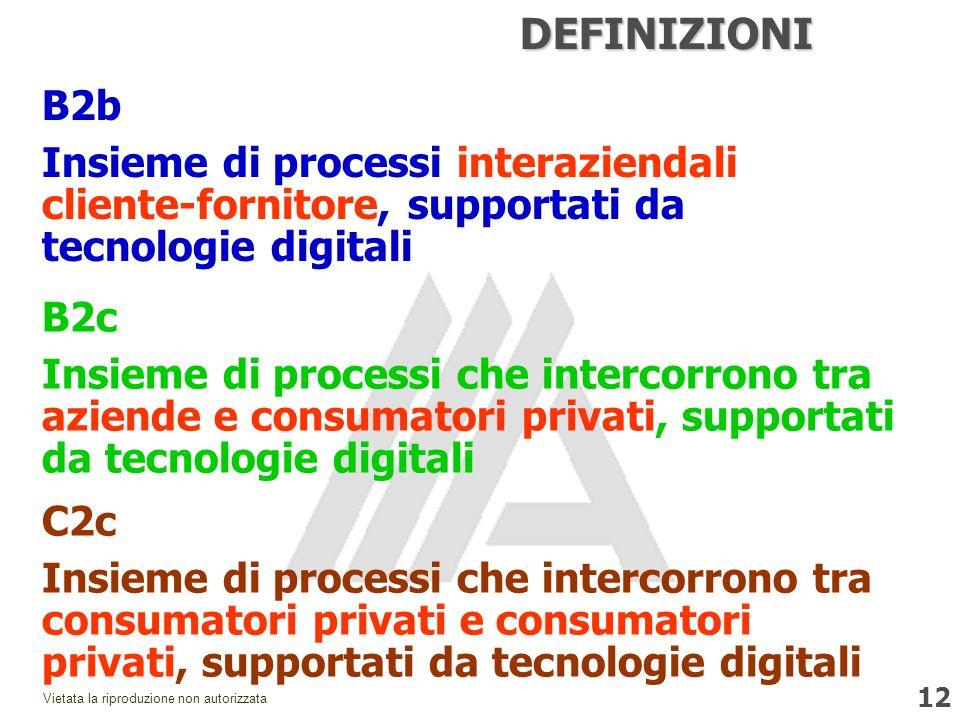 12 Vietata la riproduzione non autorizzata DEFINIZIONI B2b Insieme di processi interaziendali cliente-fornitore, supportati da tecnologie digitali B2c Insieme di processi che intercorrono tra aziende e consumatori privati, supportati da tecnologie digitali C2c Insieme di processi che intercorrono tra consumatori privati e consumatori privati, supportati da tecnologie digitali