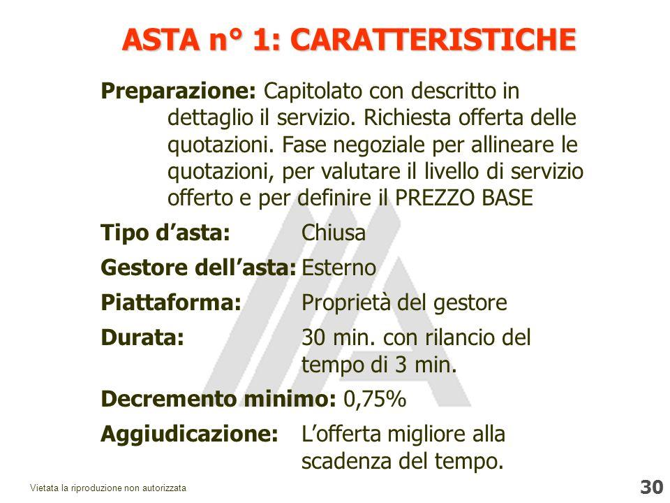 30 Vietata la riproduzione non autorizzata ASTA n° 1: CARATTERISTICHE Preparazione: Capitolato con descritto in dettaglio il servizio.