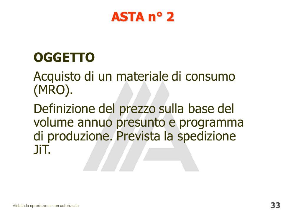 33 Vietata la riproduzione non autorizzata ASTA n° 2 OGGETTO Acquisto di un materiale di consumo (MRO).