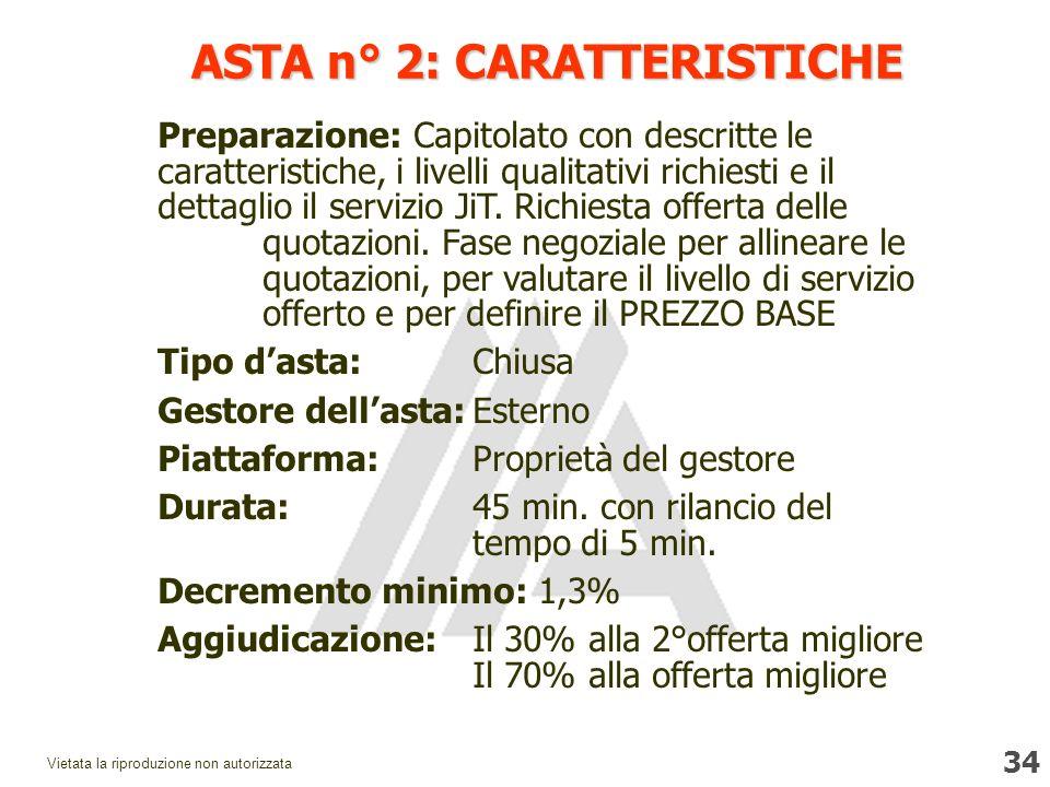 34 Vietata la riproduzione non autorizzata ASTA n° 2: CARATTERISTICHE Preparazione: Capitolato con descritte le caratteristiche, i livelli qualitativi richiesti e il dettaglio il servizio JiT.