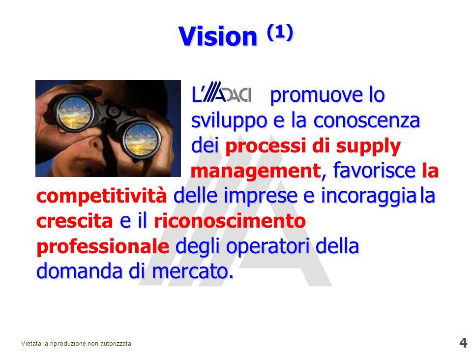 4 Vietata la riproduzione non autorizzata Vision (1) Lpromuove lo sviluppo e la conoscenza dei favorisce delle imprese e incoraggia la e il degli operatori della domanda di mercato.