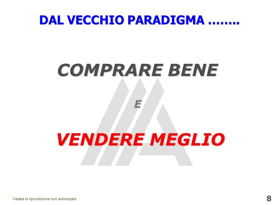 8 Vietata la riproduzione non autorizzata DAL VECCHIO PARADIGMA …….. E COMPRARE BENE VENDERE MEGLIO