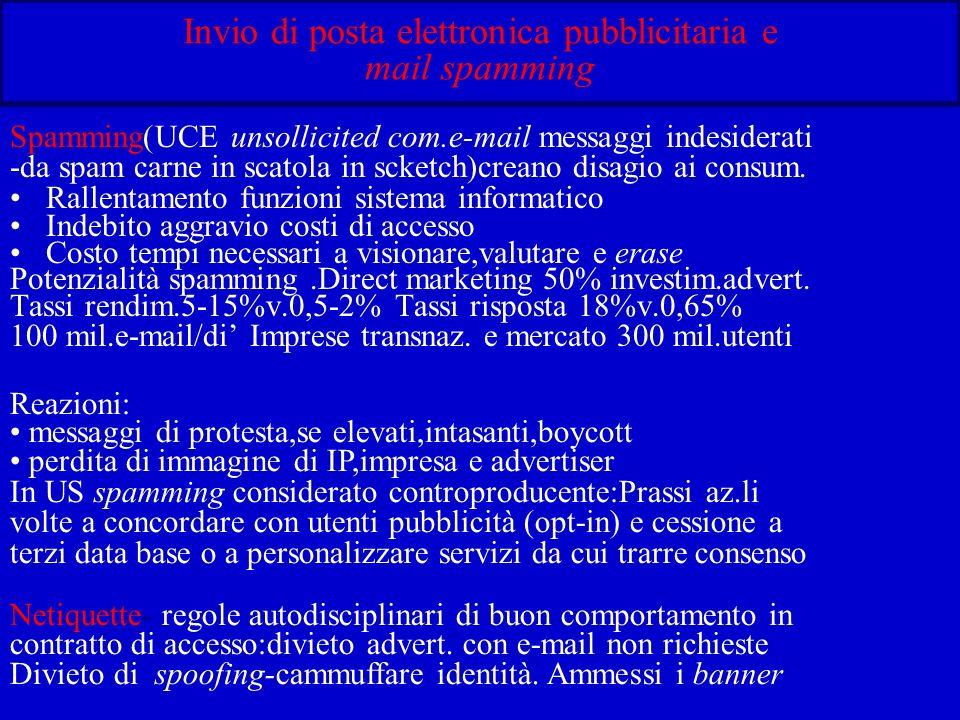 Invio di posta elettronica pubblicitaria e mail spamming Spamming(UCE unsollicited com.e-mail messaggi indesiderati -da spam carne in scatola in scketch)creano disagio ai consum.