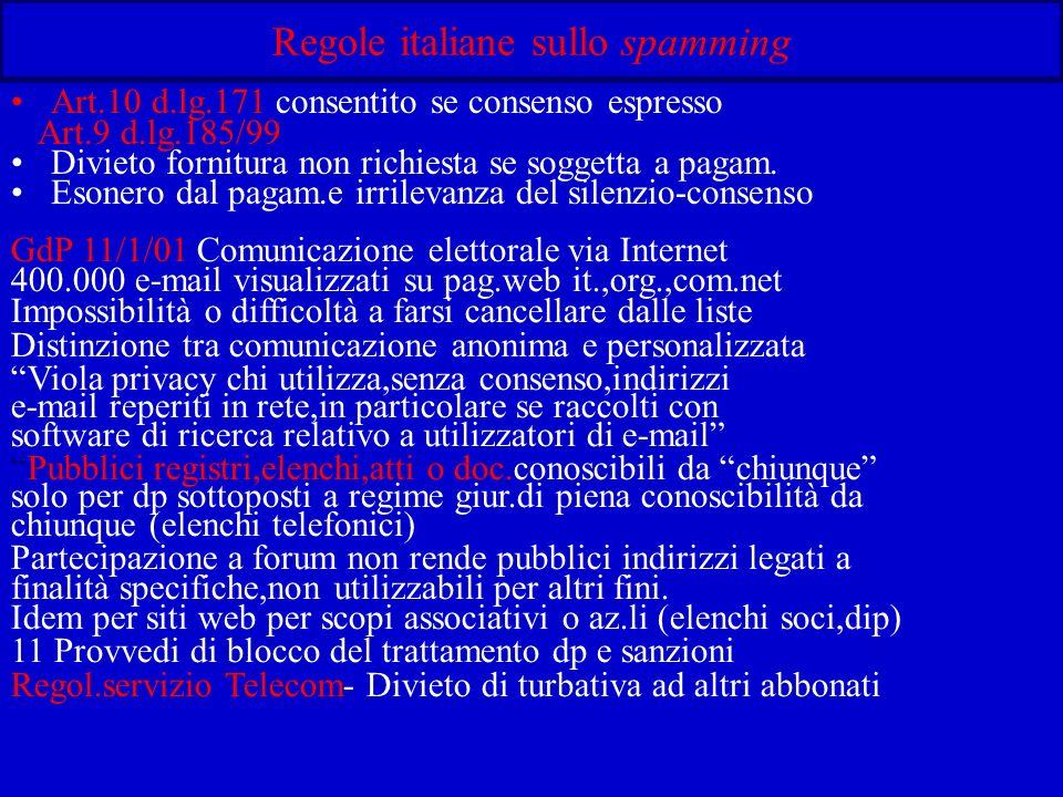 Regole italiane sullo spamming Art.10 d.lg.171 consentito se consenso espresso Art.9 d.lg.185/99 Divieto fornitura non richiesta se soggetta a pagam.
