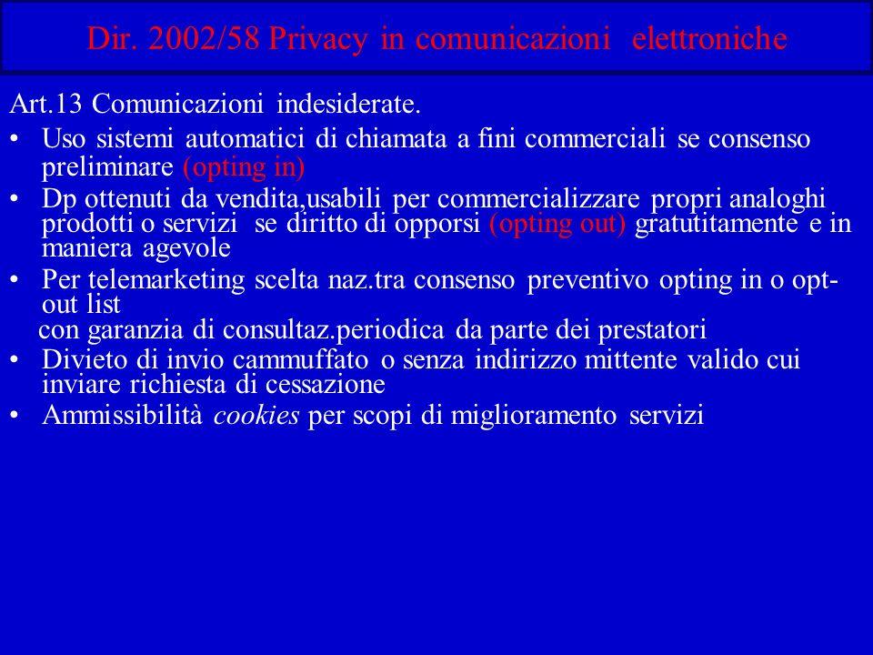 Dir. 2002/58 Privacy in comunicazioni elettroniche Art.13 Comunicazioni indesiderate.