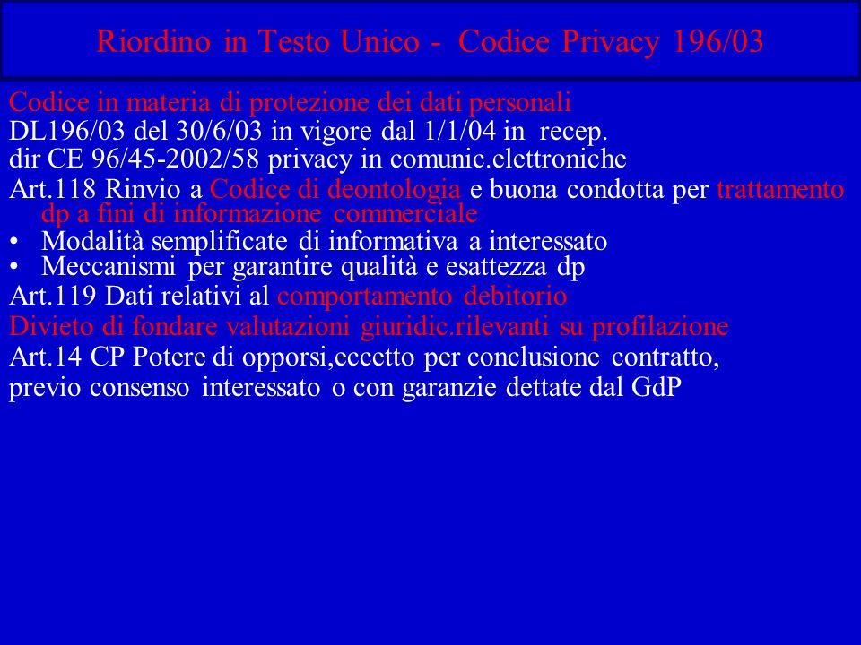 Riordino in Testo Unico - Codice Privacy 196/03 Codice in materia di protezione dei dati personali DL196/03 del 30/6/03 in vigore dal 1/1/04 in recep.