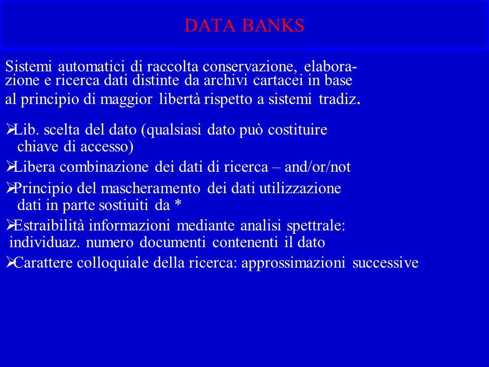 DATA BANKS Sistemi automatici di raccolta conservazione, elabora- zione e ricerca dati distinte da archivi cartacei in base al principio di maggior libertà rispetto a sistemi tradiz.