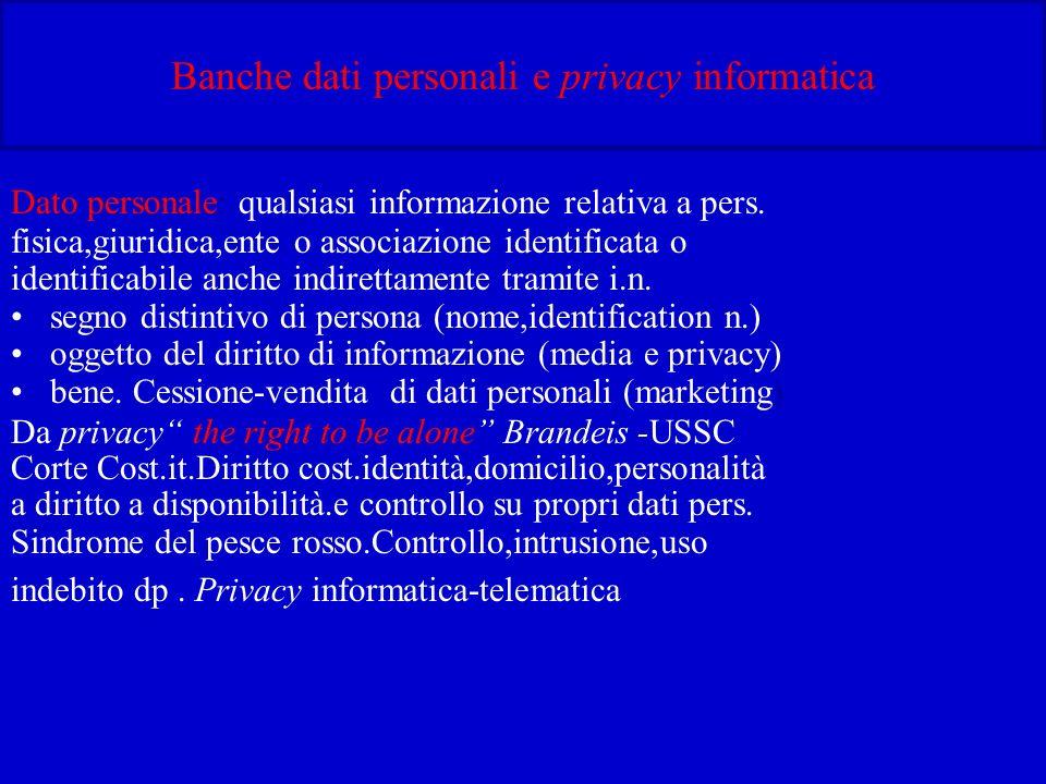 Banche dati personali e privacy informatica Dato personale: qualsiasi informazione relativa a pers.