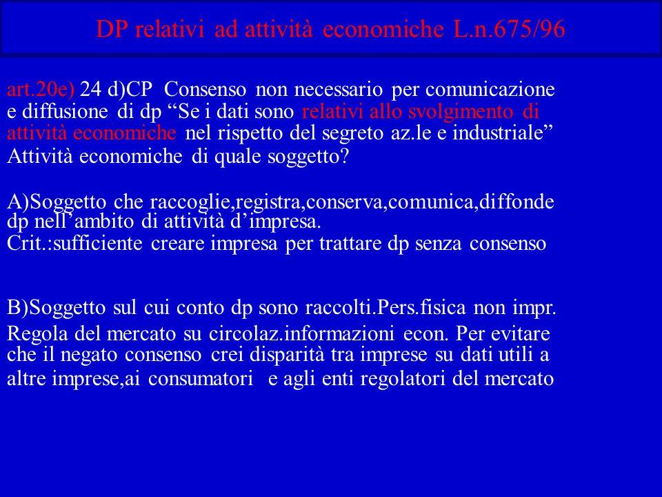 DP relativi ad attività economiche L.n.675/96 art.20e) 24 d)CP Consenso non necessario per comunicazione e diffusione di dp Se i dati sono relativi allo svolgimento di attività economiche nel rispetto del segreto az.le e industriale Attività economiche di quale soggetto.