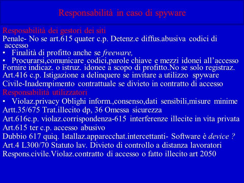 Responsabilità in caso di spyware Resposabilità dei gestori dei siti Penale- No se art.615 quater c.p.