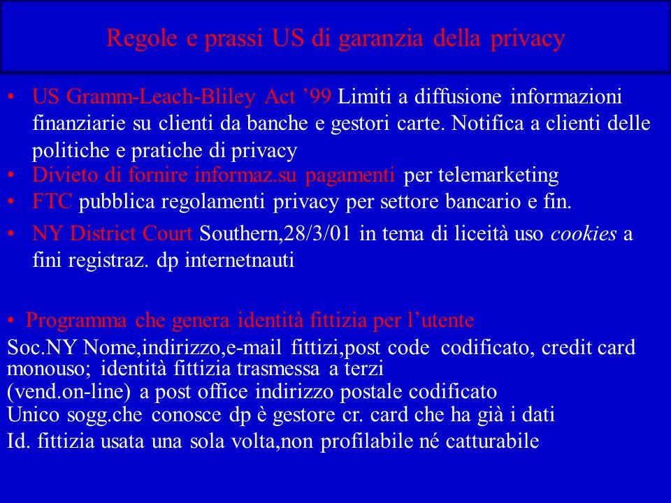 Regole e prassi US di garanzia della privacy US Gramm-Leach-Bliley Act 99 Limiti a diffusione informazioni finanziarie su clienti da banche e gestori carte.
