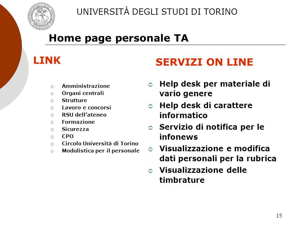 15 Home page personale TA Amministrazione Organi centrali Strutture Lavoro e concorsi RSU dellateneo Formazione Sicurezza CPO Circolo Università di To