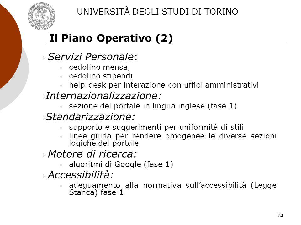 24 Il Piano Operativo (2) Servizi Personale: cedolino mensa, cedolino stipendi help-desk per interazione con uffici amministrativi Internazionalizzazi
