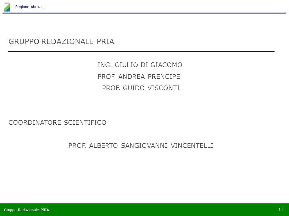 Gruppo Redazionale PRIA Regione Abruzzo 13 GRUPPO REDAZIONALE PRIA ING.