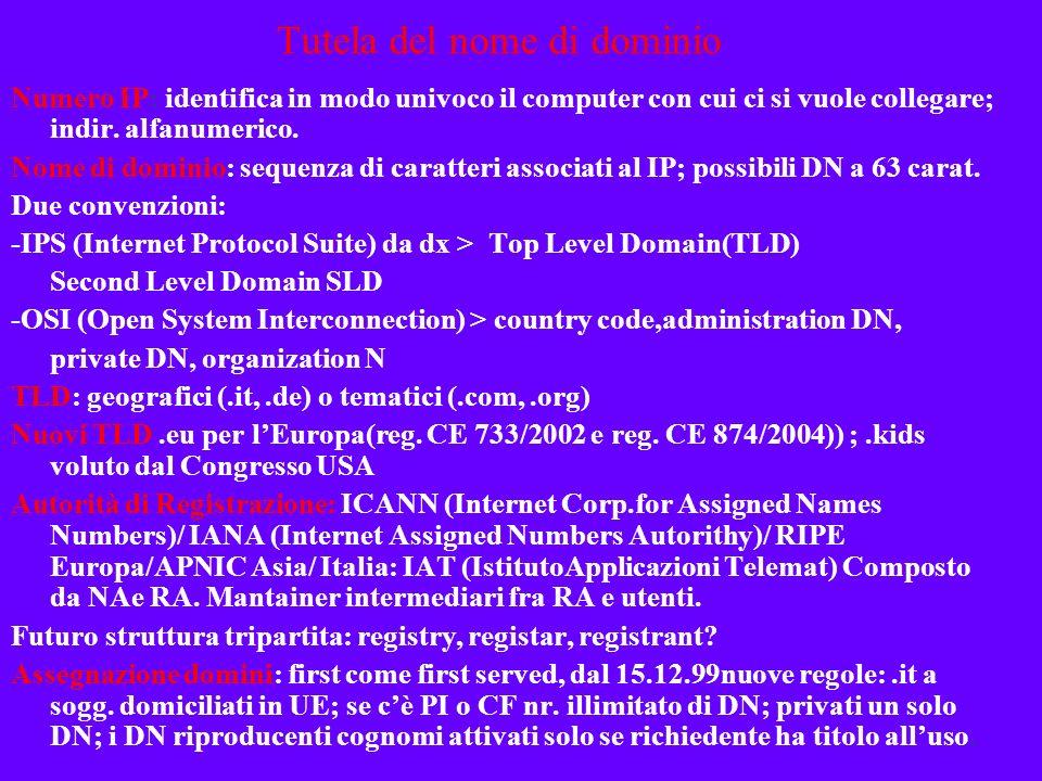 Domain names Funzioni -Distintiva assimilabile allinsegna -Tutela del marchio estesa al DN (registrato o di fatto) -Qualificazione per servizi offerti, rapporto marchio-dominio rovesciato (Yahoo!, Amazon) -Non è solo un nr.