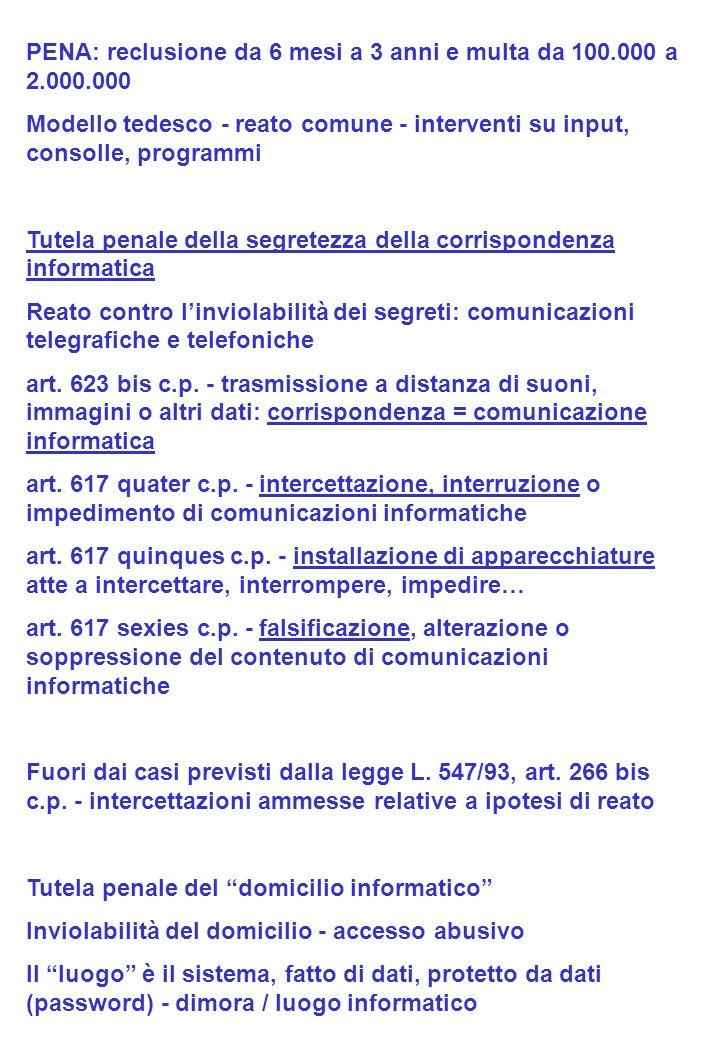 PENA: reclusione da 6 mesi a 3 anni e multa da 100.000 a 2.000.000 Modello tedesco - reato comune - interventi su input, consolle, programmi Tutela pe