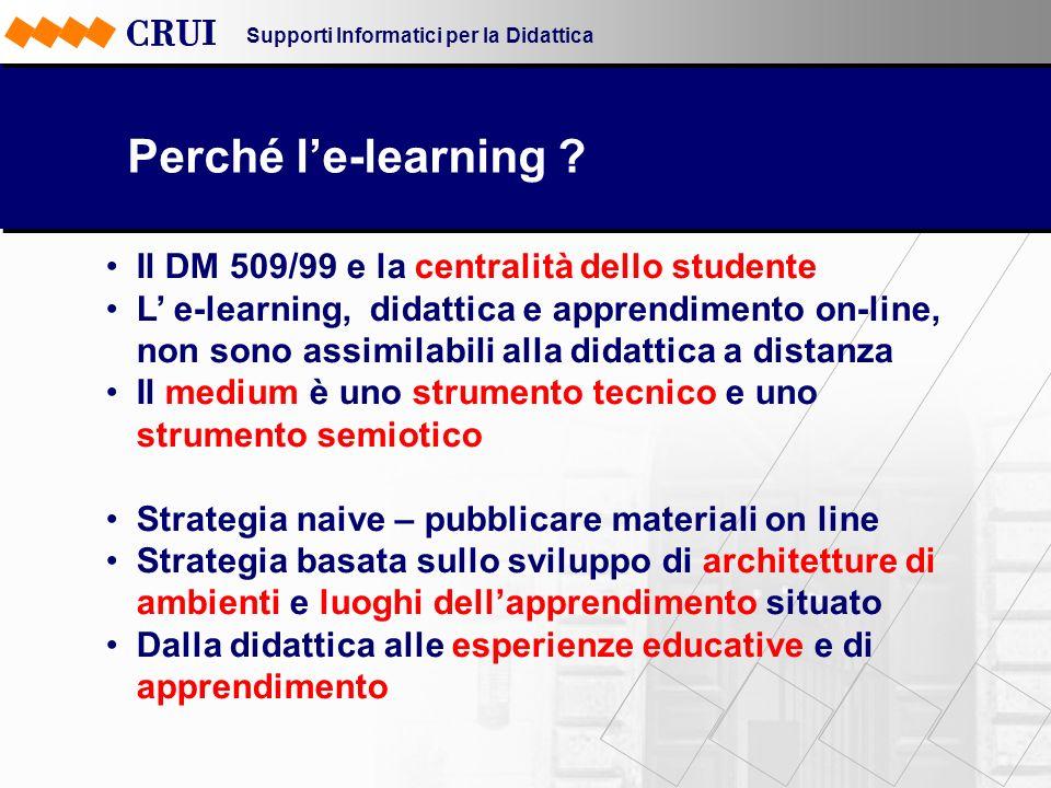 Supporti Informatici per la Didattica Perché le-learning ? Il DM 509/99 e la centralità dello studente L e-learning, didattica e apprendimento on-line